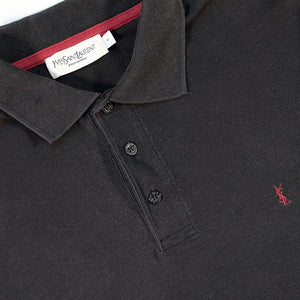 Vintage YSL Yves Saint Laurent Embroidered Logo Polo Shirt - M/L