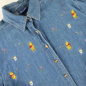 Vintage Winnie The Pooh Embroidered Denim Button Up - M