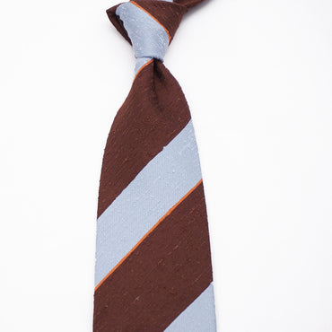 Luxury Shantung - Brown/Sky Blue
