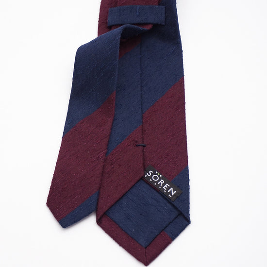 Luxury Shantung Silk - Navy/Burgundy