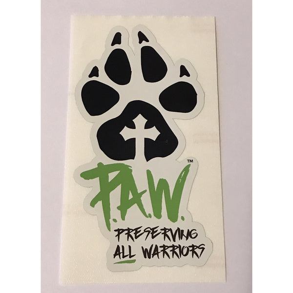 P.A.W. Window Decal Green/Pink/Blue/Orange