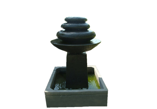 Waterfall Stand With Bowl & Stone Dark Grey Colour