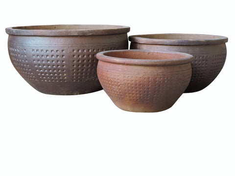 Black Clay Natural Pot, Set of 3