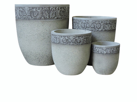 Fibre Cement Silver Grey Pot, Set of 4