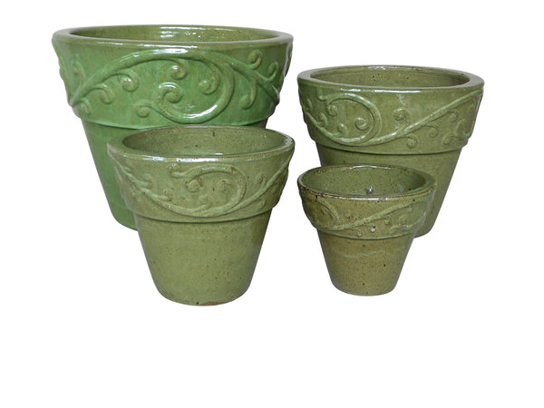Outdoor Ceramic Glazed Pot, Set of 4, Avocado