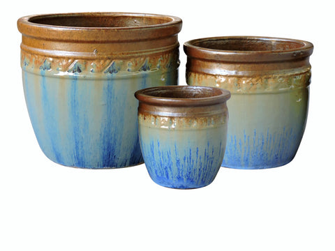 Outdoor Ceramic Glazed Pot, Set of 3, Mix Sunset