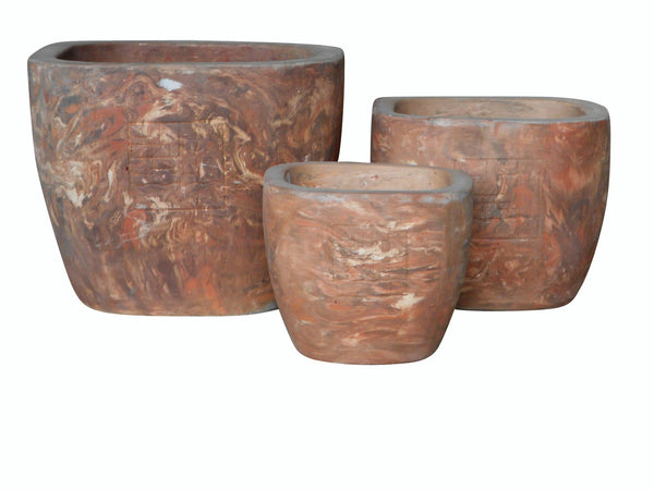 Marble Terracotta Pot, Set of 3