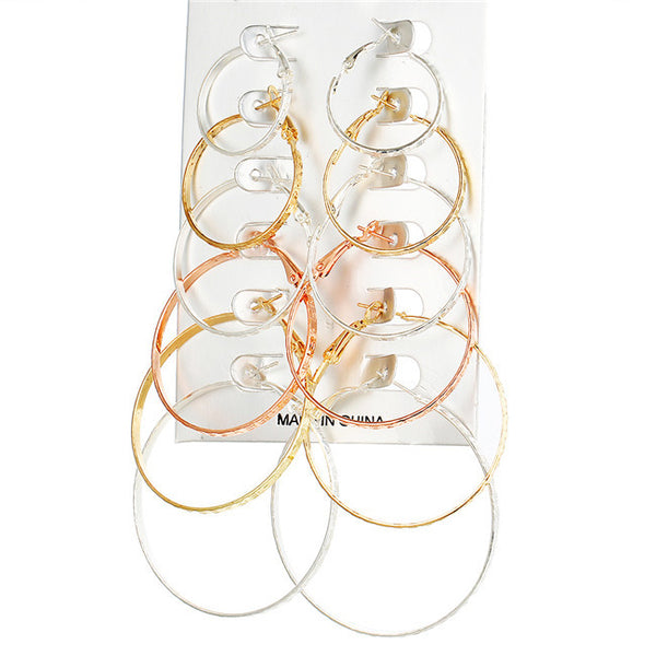 6 Pairs Hoops in Light