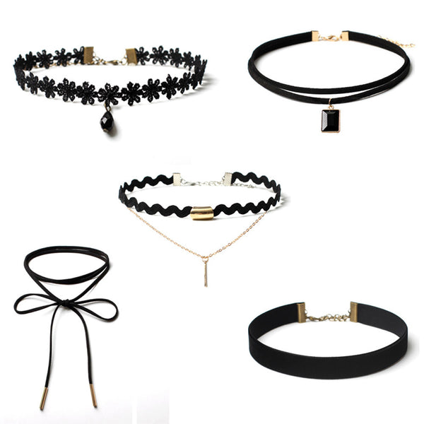 Velvet Choker Necklace 5 Piece Set