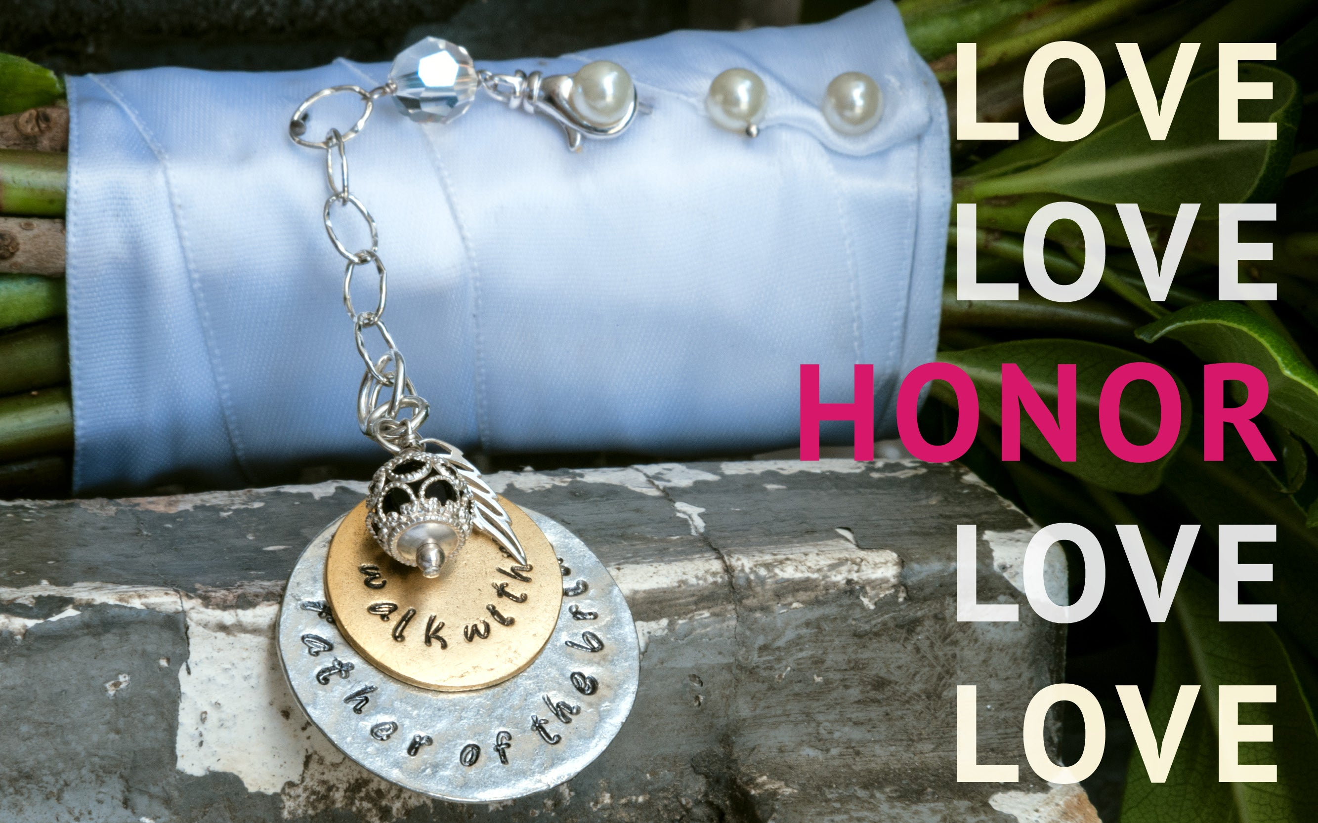 Love Honor collection: charms and pins to honor the memory of those you love on your wedding day