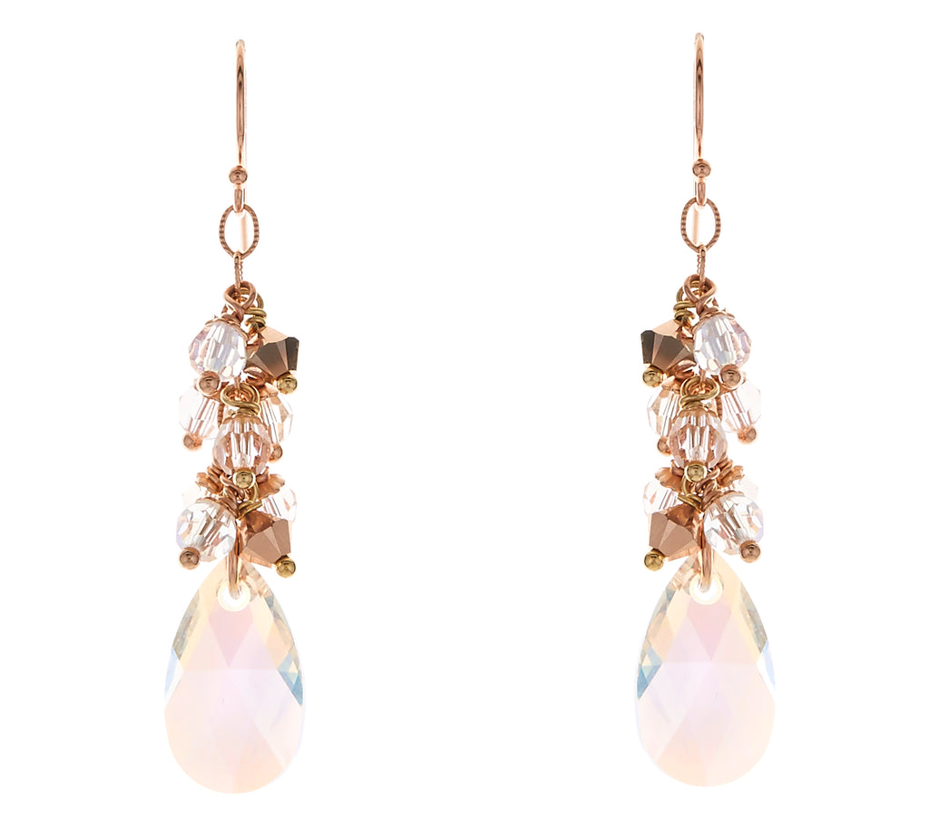 Rose Gold Swarovski Crystal and Pearl Multi-Drop Earrings - Bridal