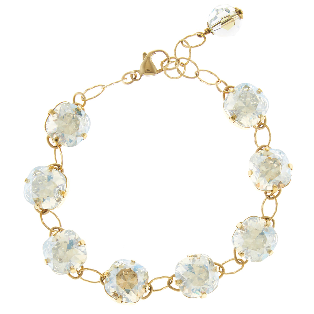 Gold Filled Cushion Cut Moonlight Foiled Swarovski Crystal Link Bracelet - Bridal
