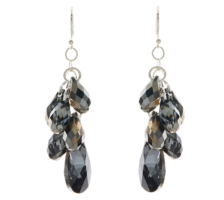 Silver Night Swarovski Crystal Pear Multi-Drop Earrings NEW
