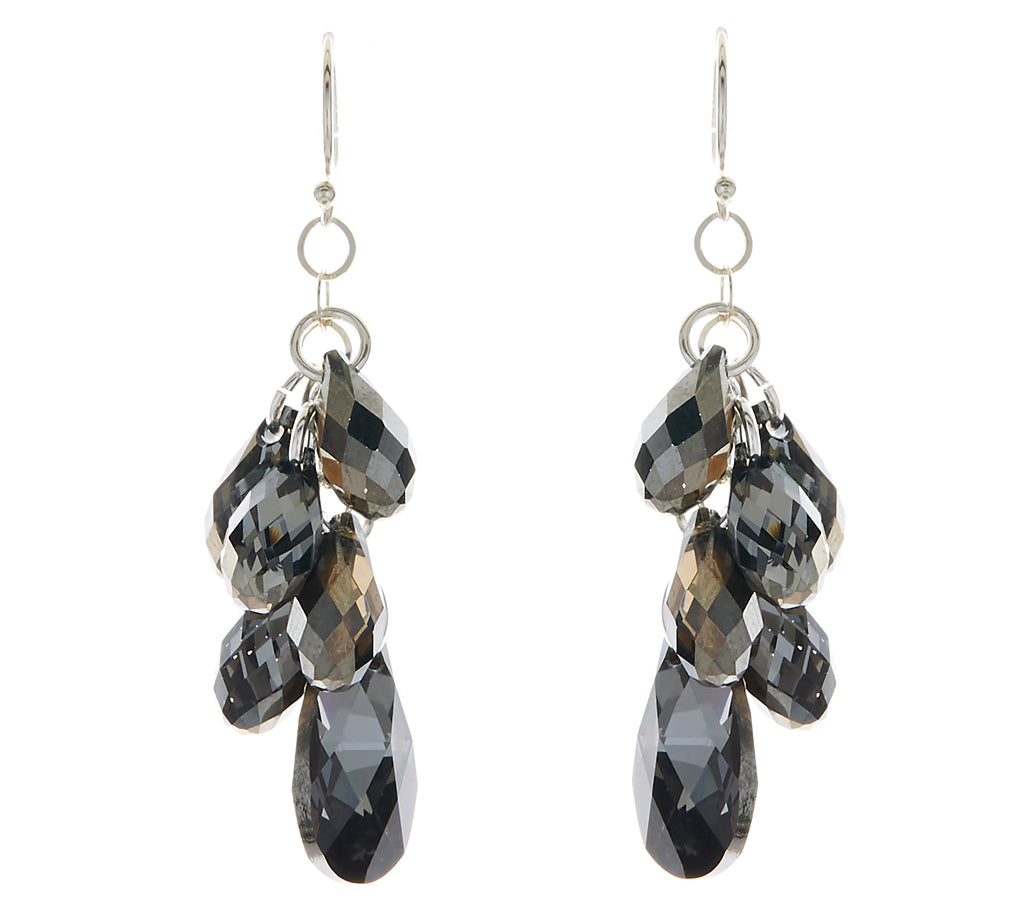 Silver Night Swarovski Crystal Pear Multi-Drop Earrings - Bridal