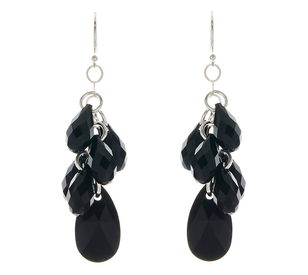 Jet Black Swarovski Crystal Pear Multi-Drop Earrings NEW