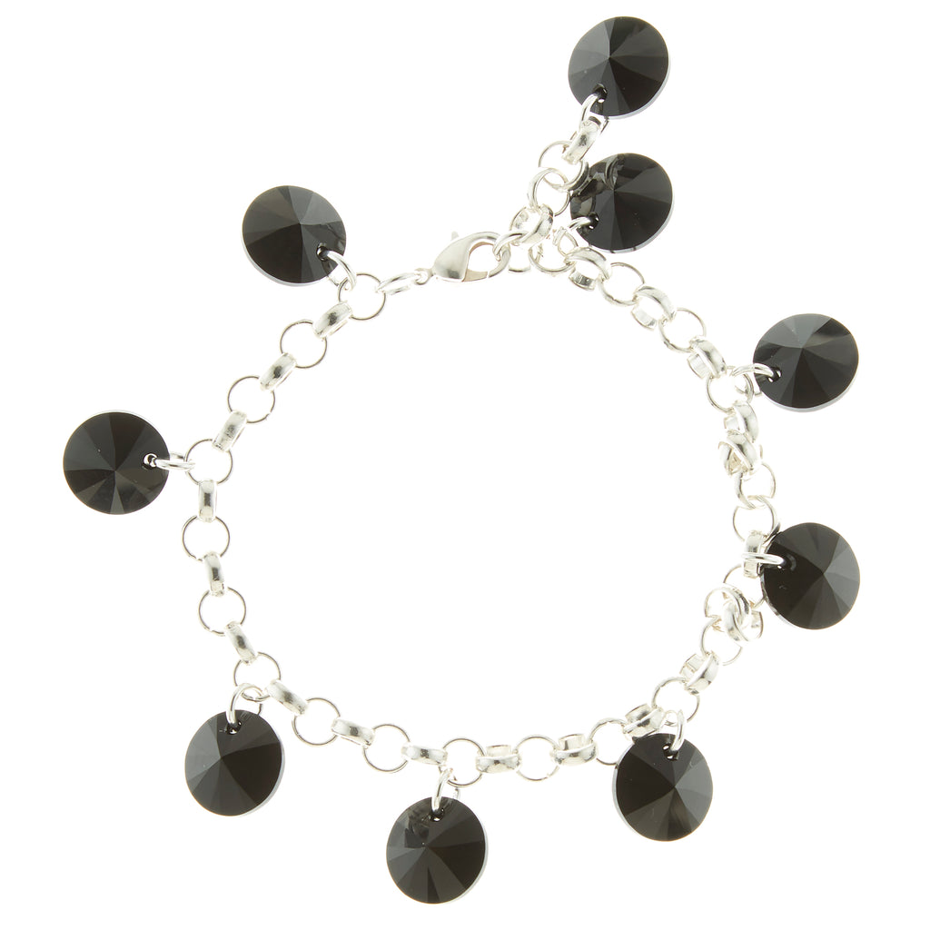 Sterling Silver and Jet Black Swarovski Rivoli Crystal Multi-Drop Bracelet  NEW