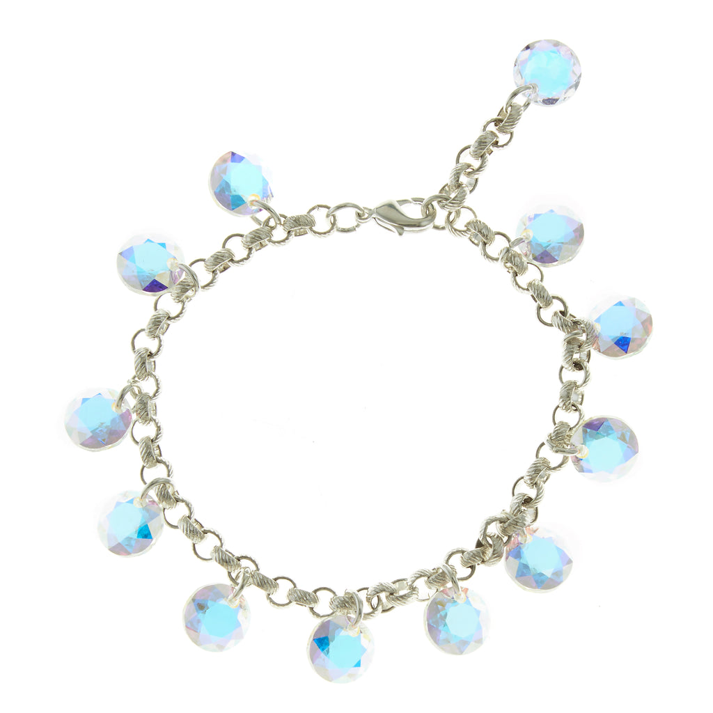 Sterling Silver and Crystal AB Swarovski Rivoli Crystal Multi-Drop Bracelet - Bridal