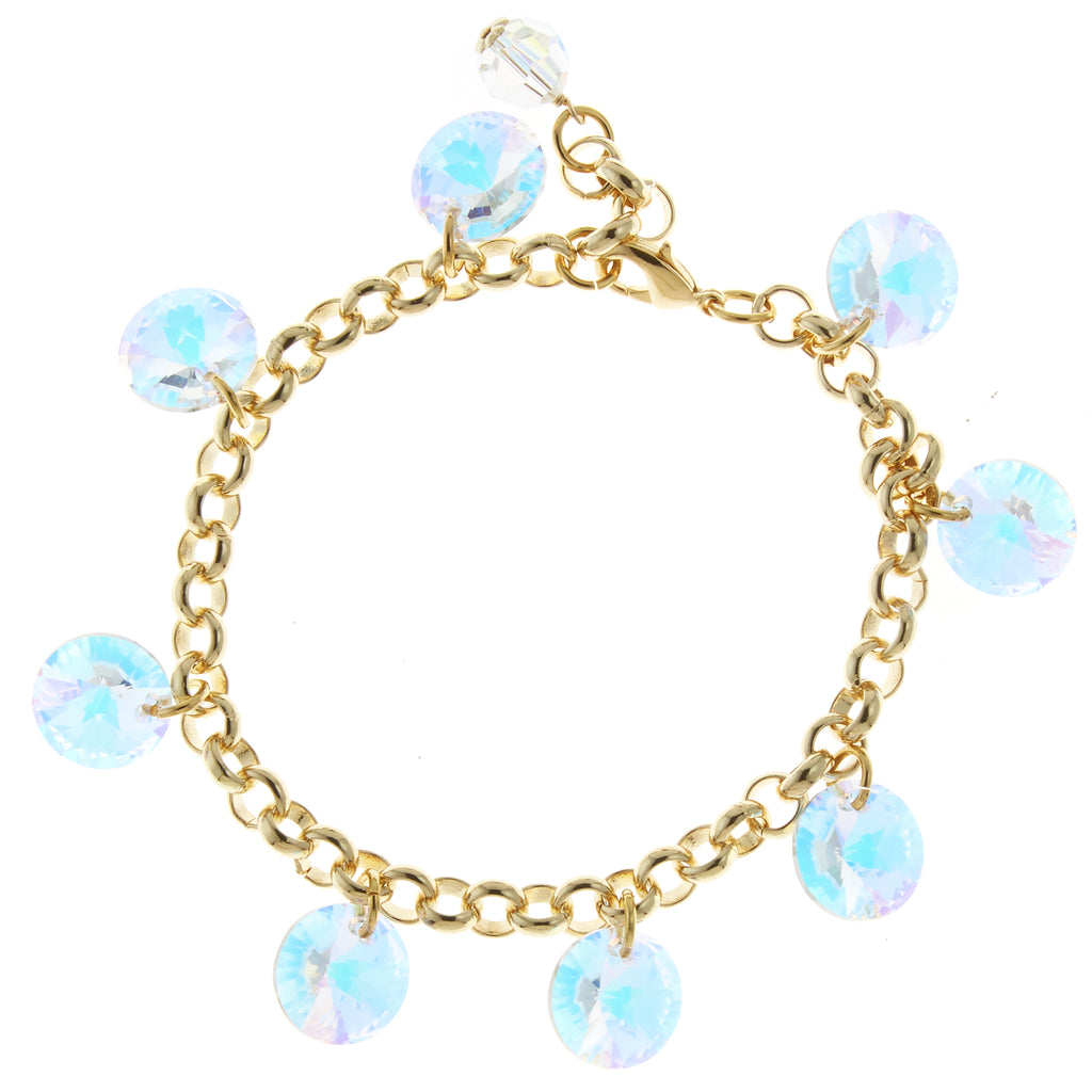 Gold Filled and Crystal AB Swarovski Rivoli Crystal Multi-Drop Bracelet - Bridal