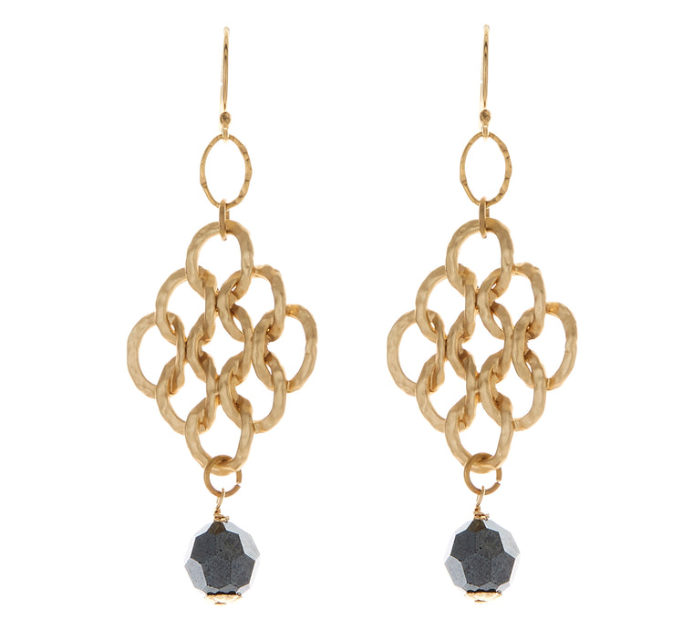Brushed Gold Diamond Ovals With Jet Hematite Swarovski Crystal Drop Earrings NEW
