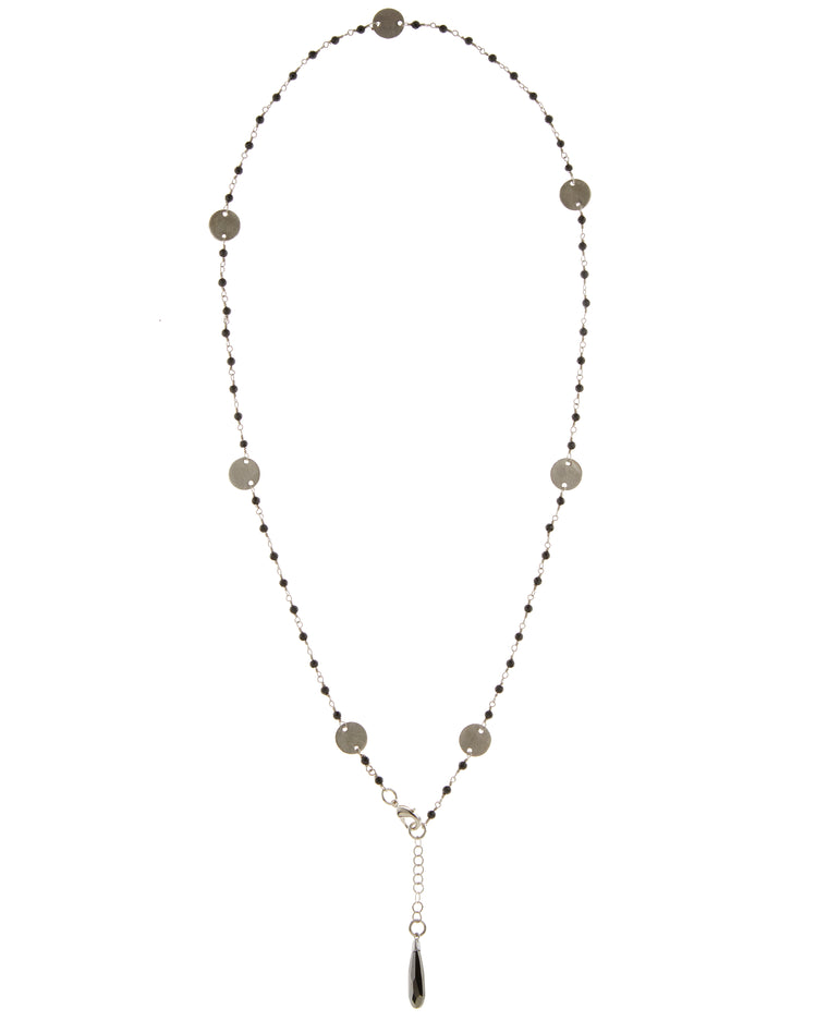 Jet Swarovski Crystal & Disc Multi-Wrap Necklace/Bracelet Combo in Sterling Silver or Gold Filled