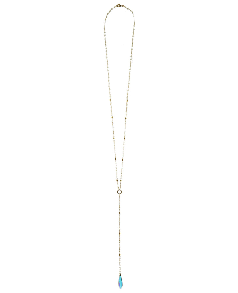 Moonstone & Pyrite Chain with Swarovski Crystal Long Drop Necklace in Sterling Silver or Gold Filled
