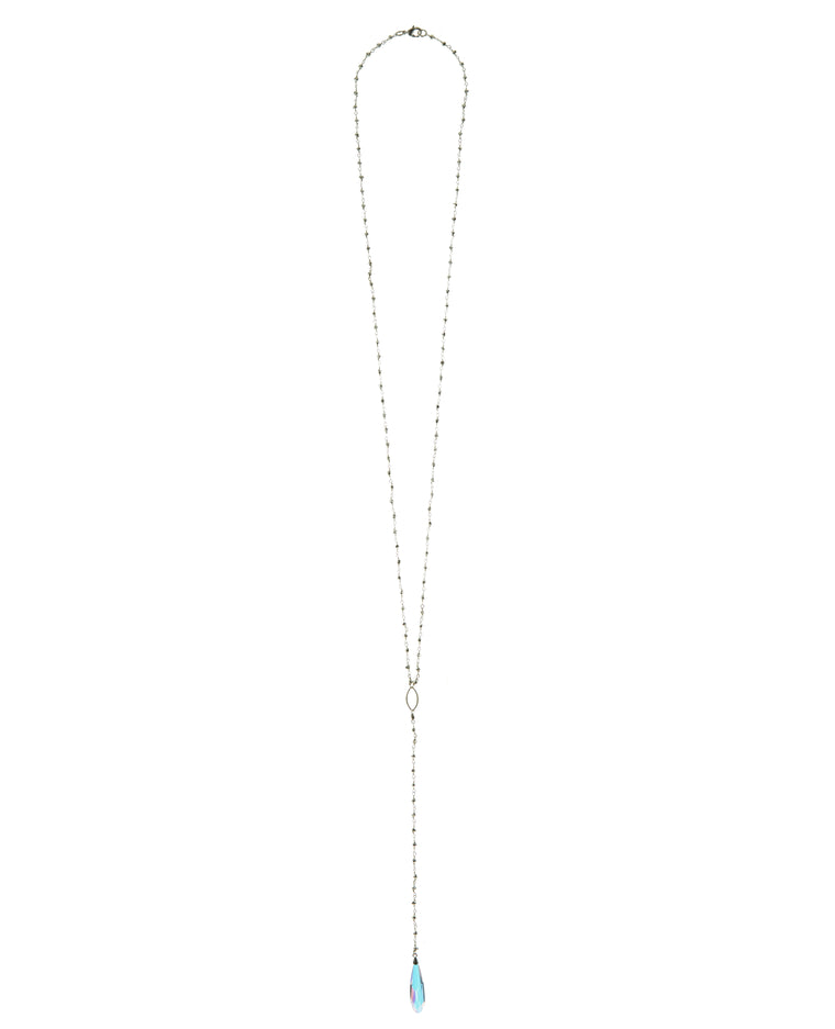 Pyrite Chain with Swarovski Crystal Long Drop Necklace in Sterling Silver or Gold Filled  NEW