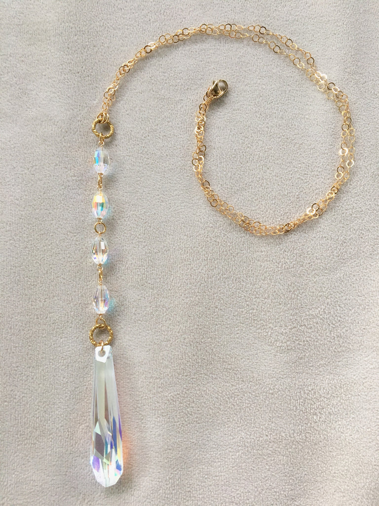 Long Pendant Swarovski Crystal AB Icicle Gold Necklace