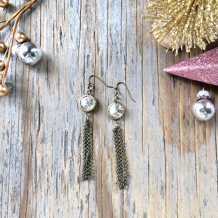 Shabby Chic Crystal with Chain Tassel Long Drop Earrings  NEW