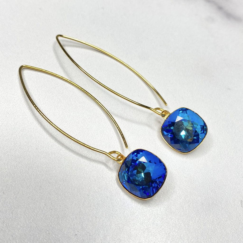 Bright Blue Swarovski Crystal Cushion Cut Pendant on Oval Earrings in Gold Filled or Sterling Silver  NEW