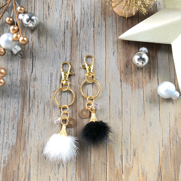 Gold Vermeil Faux Fur Puff Drop Keychains  NEW