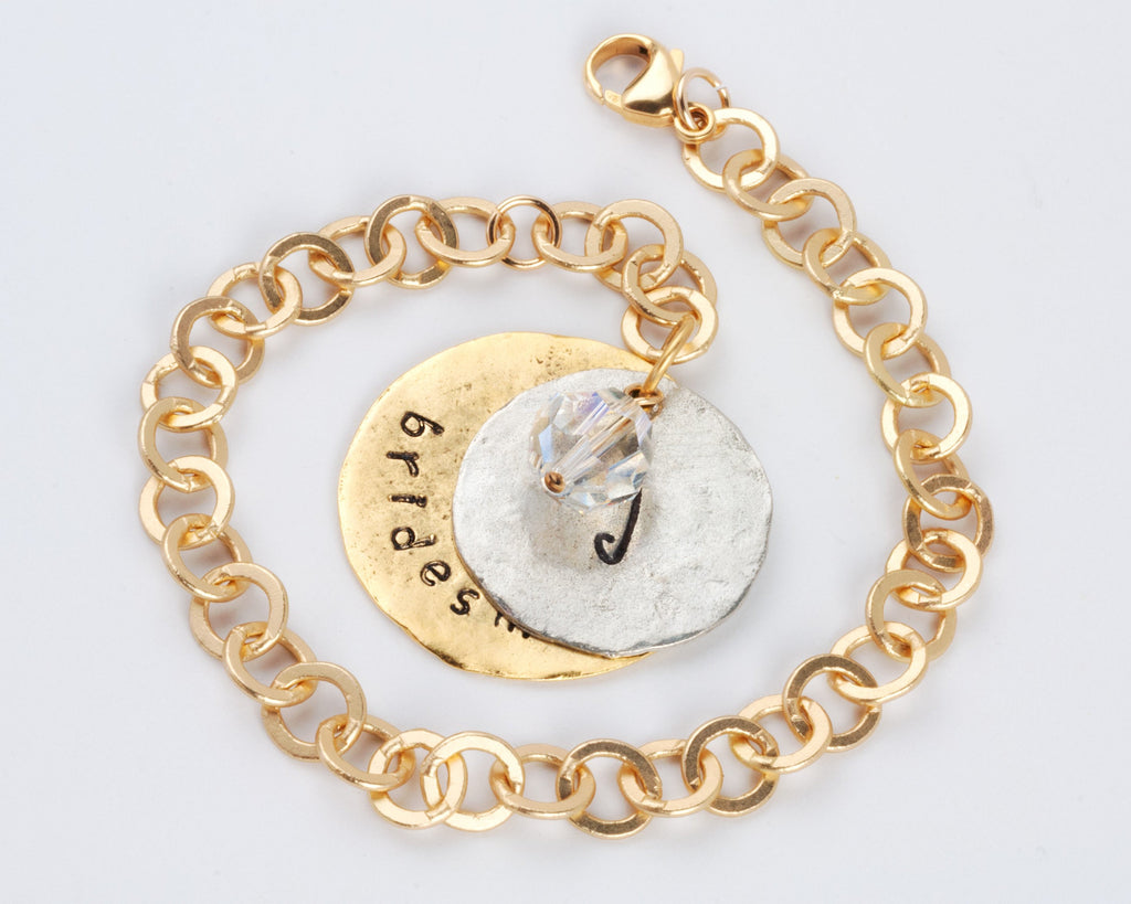 Bridal Party Single Drop Bracelet - Gold Chain with Gold Large Charm and Gold Small Charm