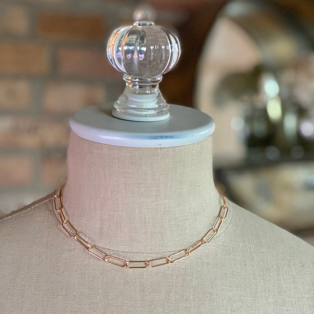 Gold-filled Paper Clip Chain Choker  NEW