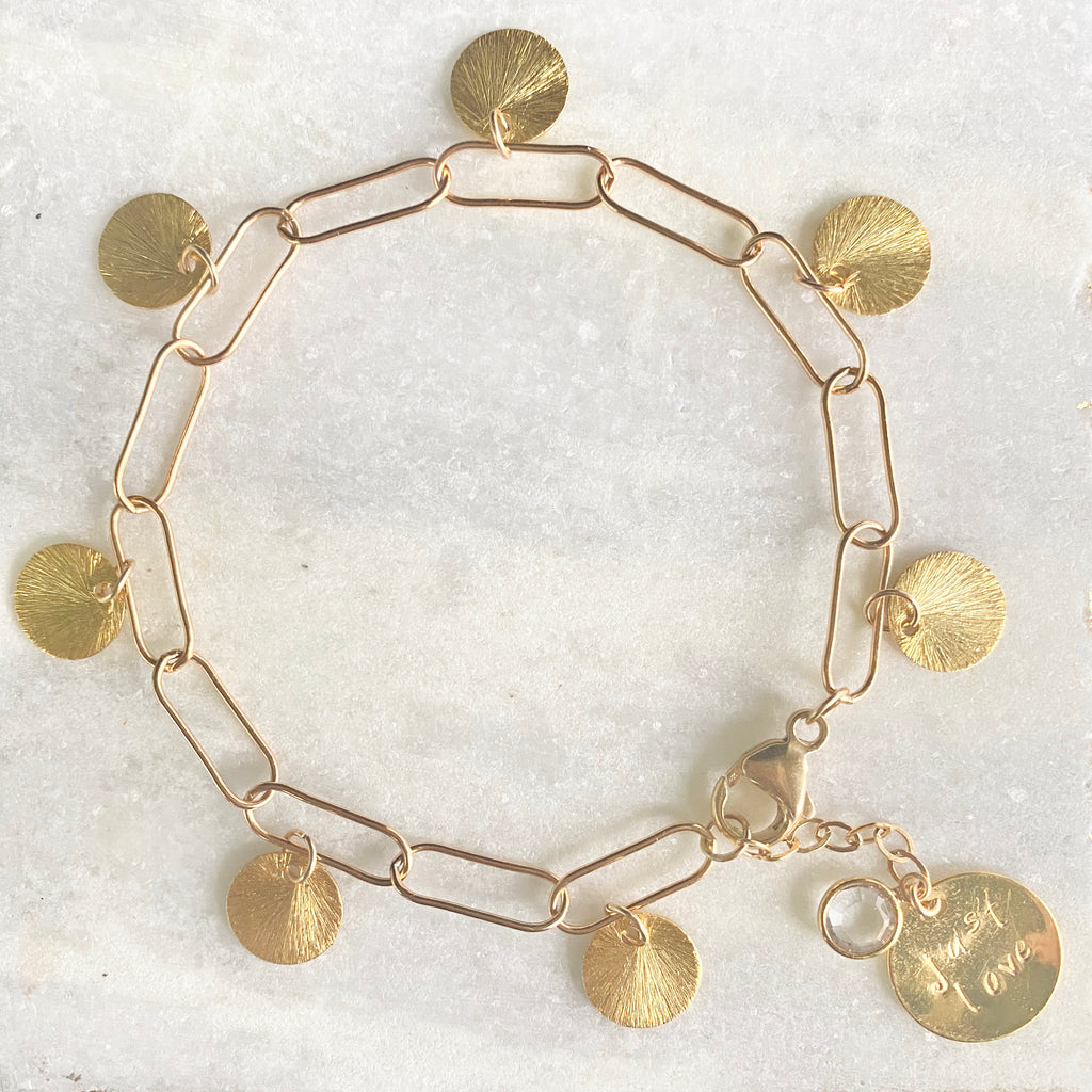 Brushed Gold-Filled Etched Discs On Paper Clip Chain Bracelet  NEW