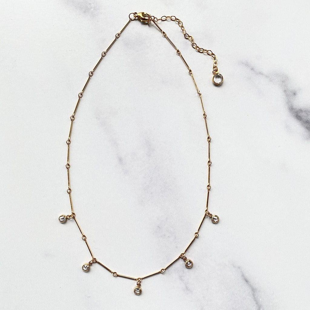 Gold-filled Bar Chain Choker with Swarovski Crystal Drops  NEW