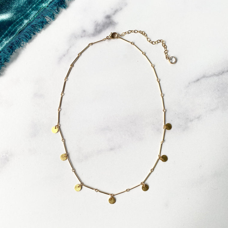 Gold-Filled Bar Chain Choker with Brushed Gold Disc Drops  NEW