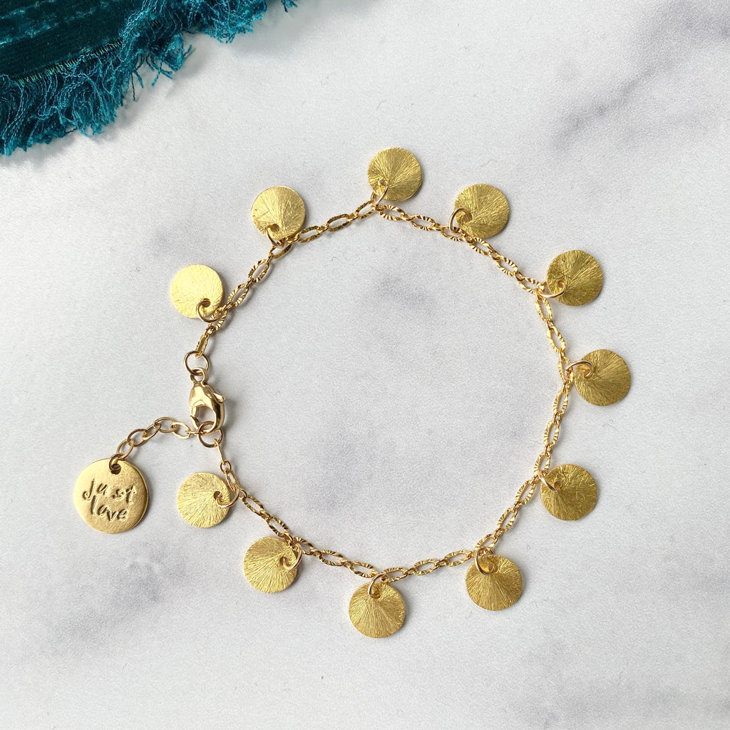Brushed Gold Etched Discs On Oval Etched Gold Filled Chain Bracelet  NEW