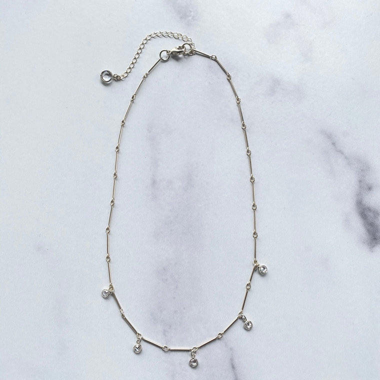 Sterling Silver Bar Chain Choker with Swarovski Crystal Drops  NEW