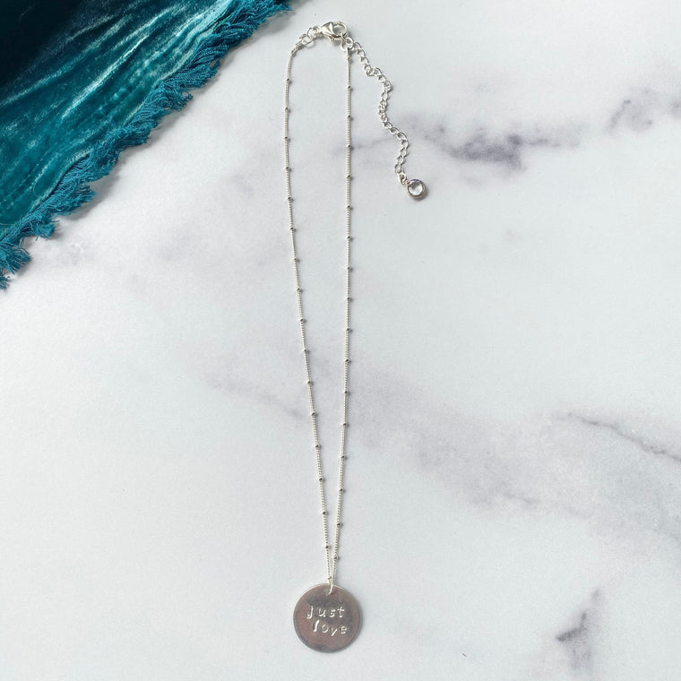 Sterling Silver Satellite Ball Beaded Chain Necklace with Round Just Love Charm  NEW
