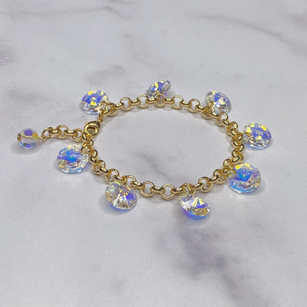 Gold Filled and Crystal AB Swarovski Rivoli Drop Bracelet (10mm)  NEW
