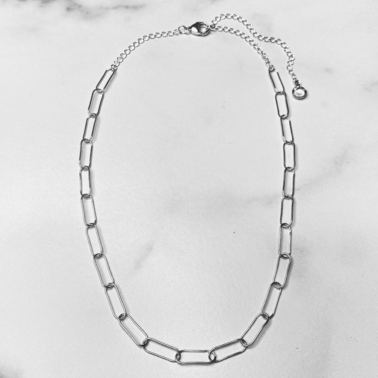 Sterling Silver Paper Clip Chain Choker  NEW