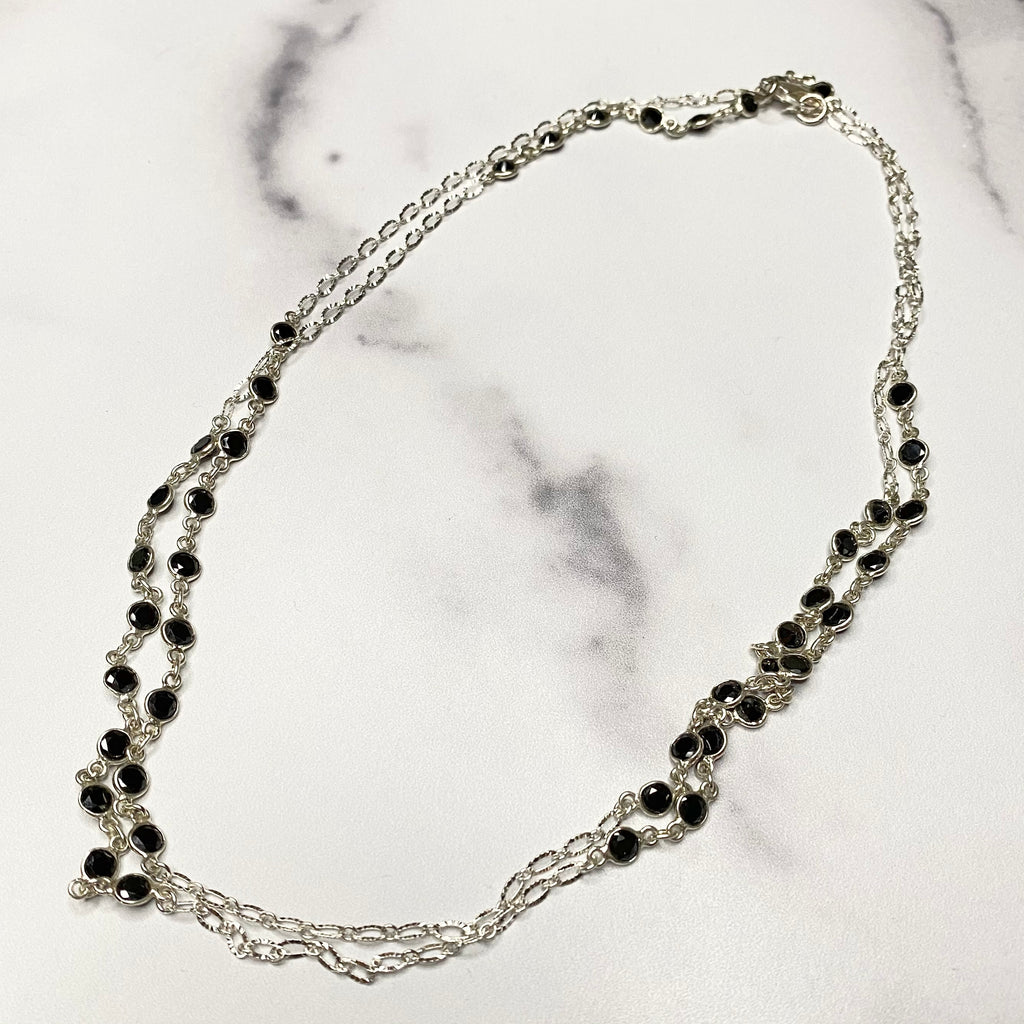 Black Onyx Swarovski Crystal Small Round (clumped) Long Layering Necklace NEW