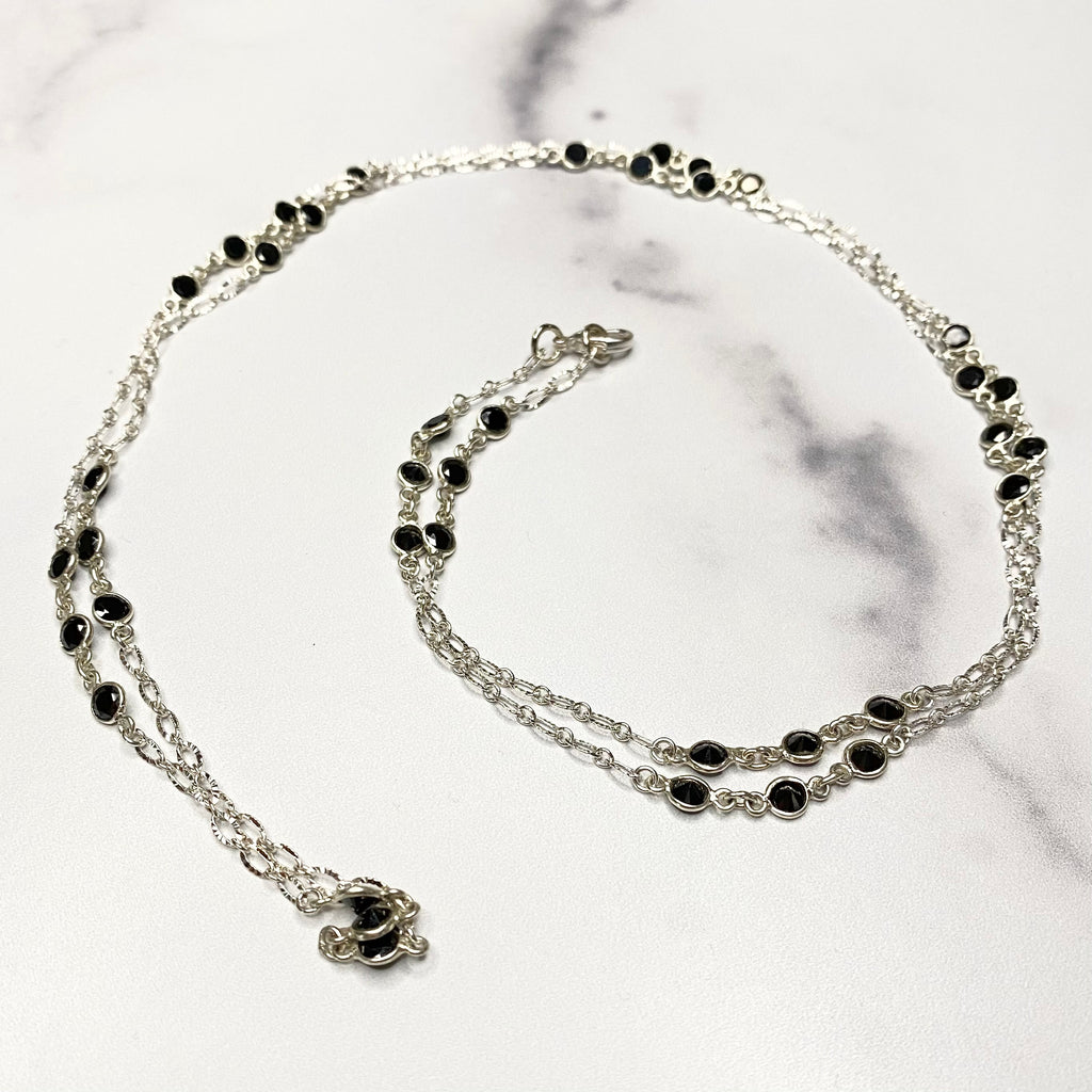 Black Onyx Swarovski Crystal Small Round (staggered) Long Layering Necklace  NEW
