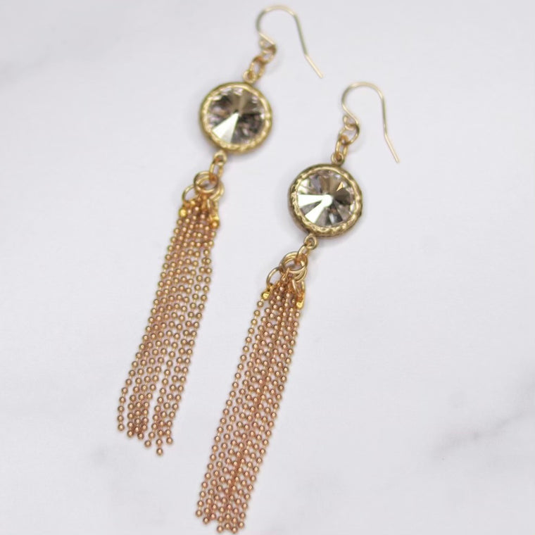 Swarovski Crystal Rivoli Pendant with Chain Tassel Earrings in Gold Filled or Sterling Silver  NEW