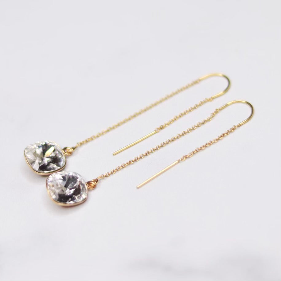 Swarovski Crystal Cushion Cut Pendant Threader Earrings in Gold Filled or Sterling Silver  NEW