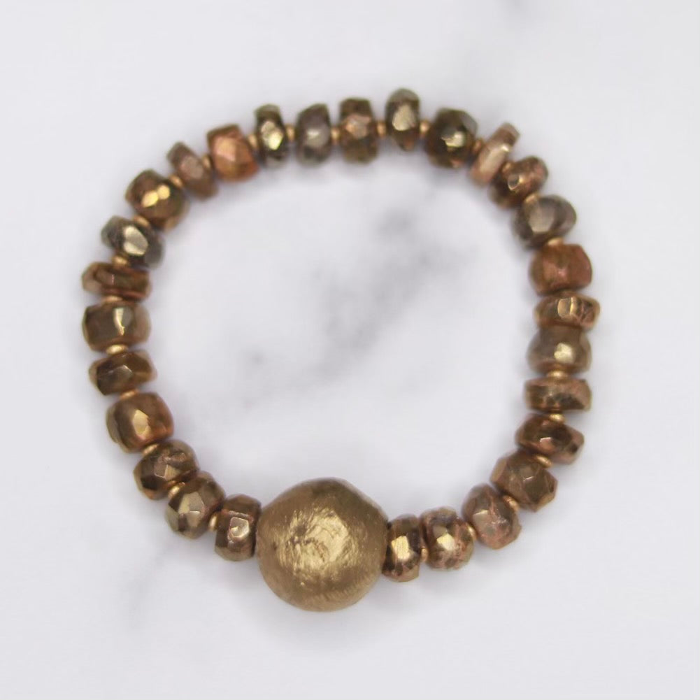 Gold Glazed Labradorite Discs and African Gold Bead Stretch Bracelet   NEW