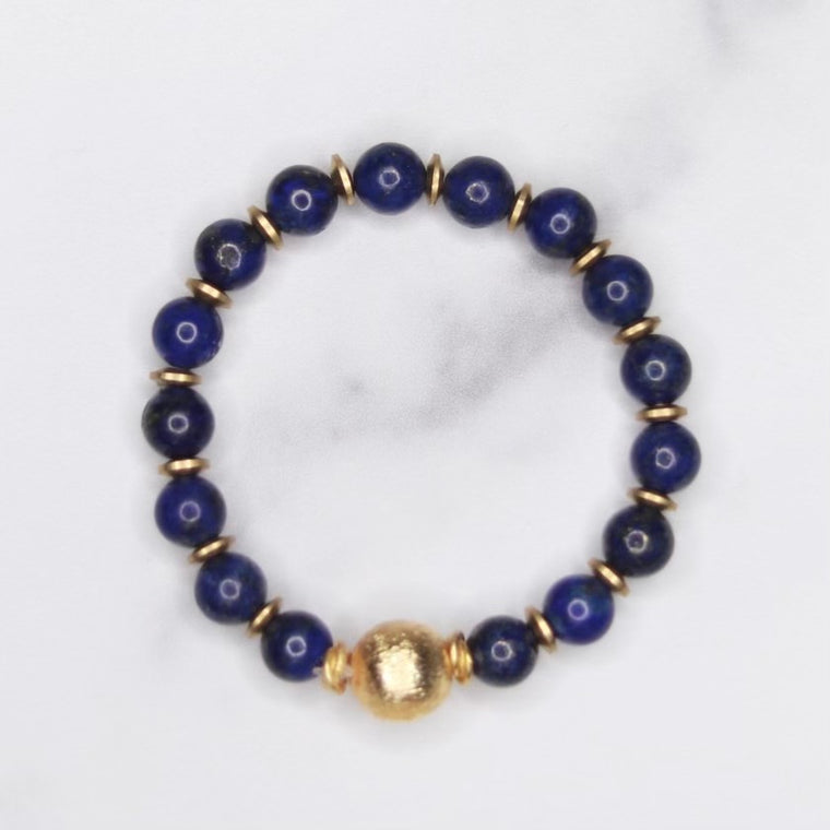 Round Blue Lapis, Gold Etched Ball and Gold Disc Stretch Bracelet