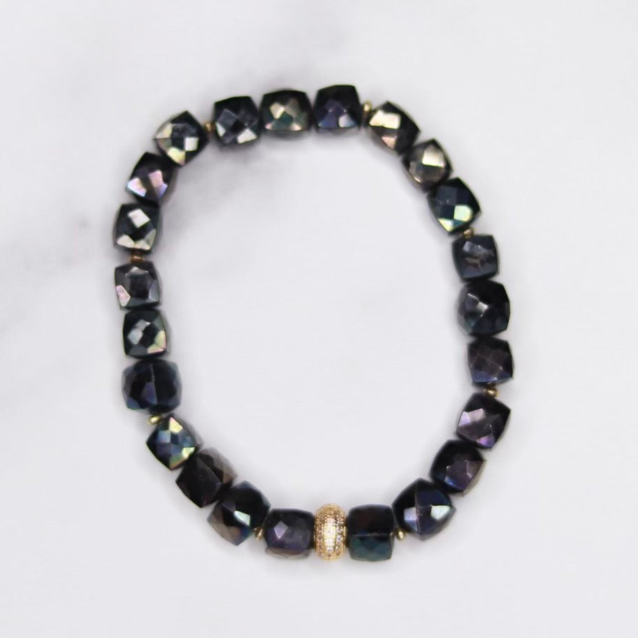 Midnight Jet Labradorite Cube, Gold Swarovski Pave Bead and Gold Disc Stretch Bracelet   NEW
