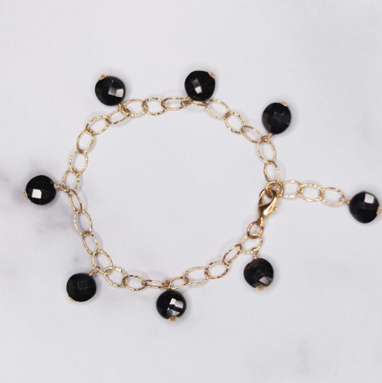 Black Onyx Rondelle Multi Drop Gold-Filled Bracelet  NEW