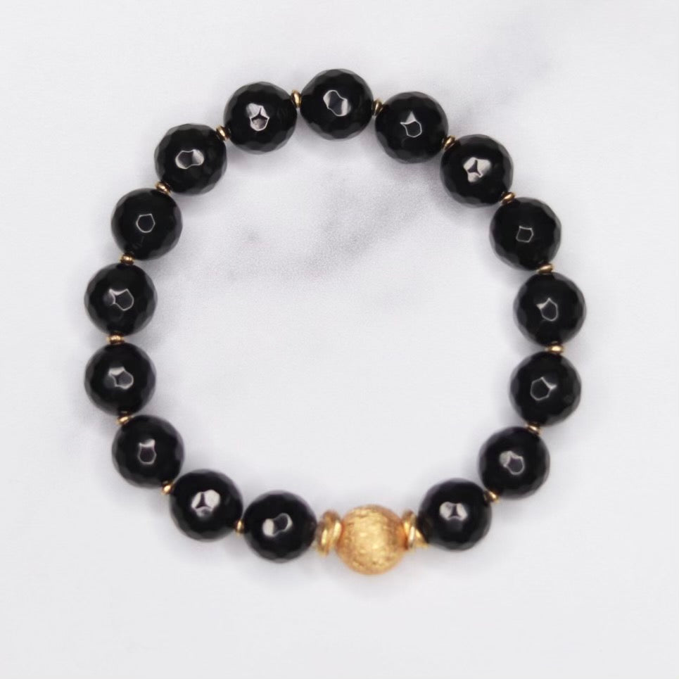 Round Black Onyx , Etched Gold Vermeil Ball and Gold Disc Stretch Bracelet   NEW