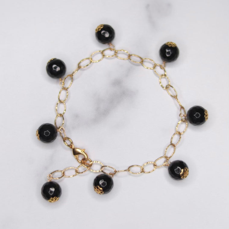 Round Black Onyx Multi Drop Gold-Filled Bracelet  NEW
